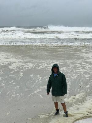 Checking out the surf as Hurricane Michael approaches