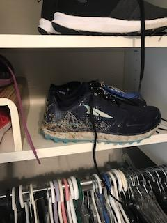 trail shoes sitting proudly in closet